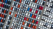 Aerial View New Cars Export Te...