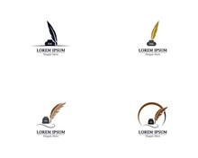 Feather Pen With Book Logo Template Vector