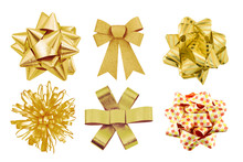 Set Of Gold Bow Gift Isolated On White Background.
