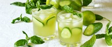 Cold Drink With Basil, Cucumber And Lime. Mojito, Lemonade With Basil.