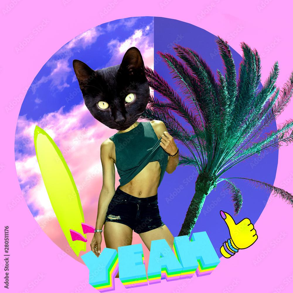 Moda Minimalistyczny kolaż sztuki. Plażowe klimaty Kitty Surfer