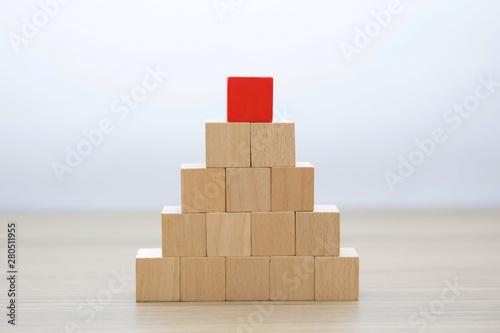 Fotografie, Obraz  Wooden cube Stacked in