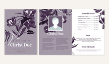 Botanical Memorial And Funeral Invitation Card Template Design, Flowers And Leaves, Purple Tone