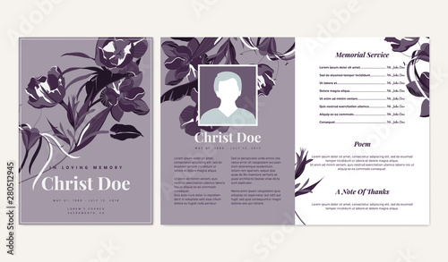 Botanical Memorial And Funeral Invitation Card Template