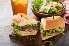 Italian Meat Sandwich With Salad And Chips For Lunch