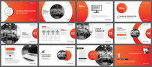 Presentation And Slide Layout Background. Design Red Gradient Circle Template. Use For Business Annual Report, Flyer, Marketing, Leaflet, Advertising, Brochure, Modern Style.