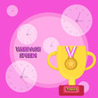 Leinwanddruck Bild - Writing note showing Webpage Speed. Business concept for how quickly users are able to see and interact with content Trophy Cup on Pedestal with Plaque Medal with Striped Ribbon
