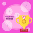 Leinwanddruck Bild - Writing note showing Webinar Today. Business concept for seminar or other presentation that takes place on the Internet Trophy Cup on Pedestal with Plaque Medal with Striped Ribbon