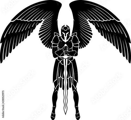 Archangel Warrior Guarding, Full Armor Fototapeta