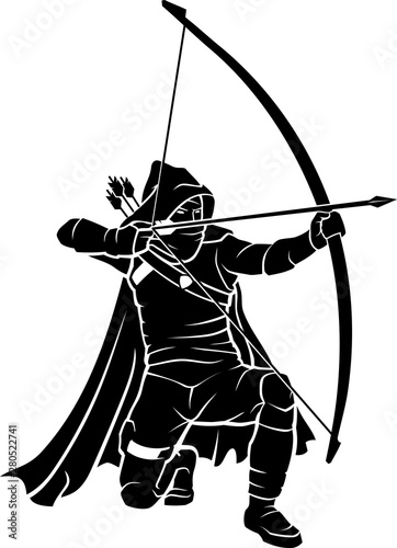 Photo Archer Assassin Kneeling and Aiming Target