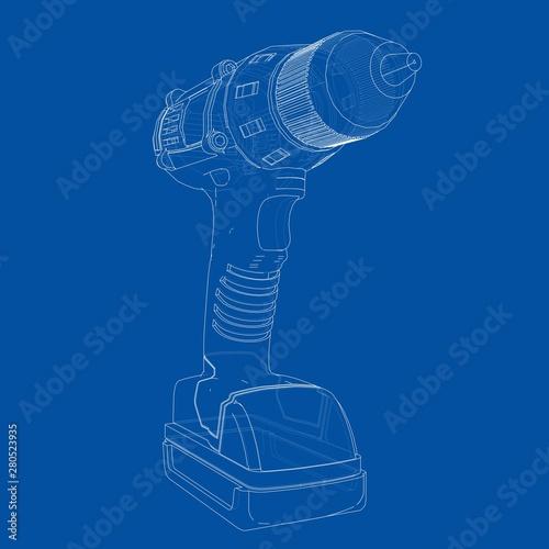Obraz Electric cordless screwdriver. Vector - fototapety do salonu