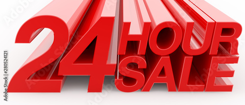 Photo  24 HOUR SALE word on white background illustration 3D rendering