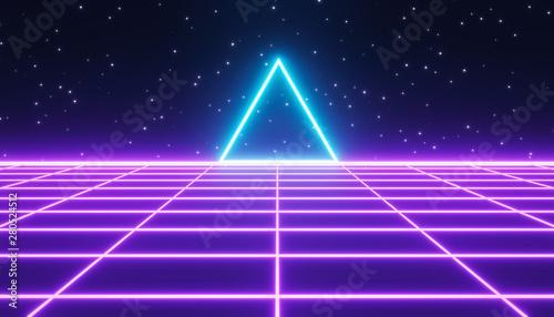 canvas print motiv - FOTOSPLASH : 80s style Retro Sci-Fi Background, banner, poster. 3d rendering