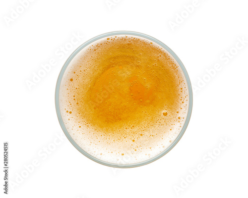 Photo sur Toile Biere, Cidre beer bubbles in glass cup on white background. top view.