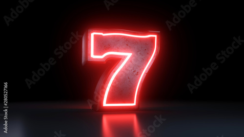 Fotografía  Lucky Seven Jackpot Symbol With Neon Red Lights Isolated On the Black Background
