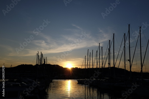 Fototapeta  Sunset in the port of San Benedetto del Tronto a beautiful touristic city in the