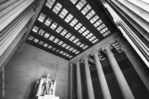 Black and White Abraham Lincoln Statue Memorial Washington DC