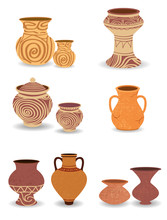 Old Antique Pottery Jars - Vector Illustration