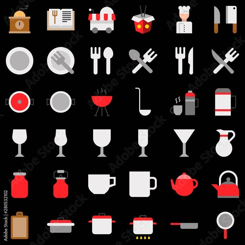 Fototapeta set of food and drink kitchen utensil flat icon. obraz na płótnie