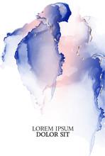 Presentation, Flyer, Invitation Violet Pink Alcohol Ink Design. Vector Art With Watercolor Liquid  Splash In Soft Orange Blue Colors. Purple Acrylic Marble Liquid Design .