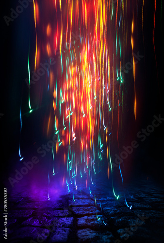 Dark night street scene, abstract neon light in the dark, reflected on a wet surface. Fireball, neon circle, abstract light tunnel. - 280535397