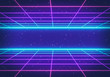 canvas print picture 80s Retro Futurism Sci-Fi Background. glowing neon grid. banner, poster. 3d rendering