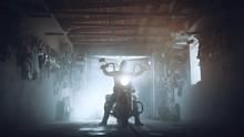Headlamp Chopper In Biker Garage