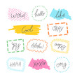 Speech bubble doodles set. Scribble frames collection. Sketch vector. Popular social media phrases. Hand drawn effect illustration. Comics. Social media messages. Chat or dialog clouds.