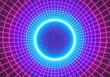 canvas print picture Retro abstract Sci-Fi Background. glowing neon round tunnel. 3d rendering