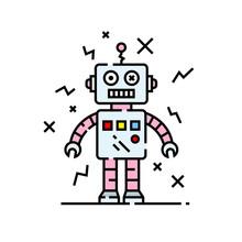 Broken Robot Line Icon. Silly Damaged Robotic Character Cartoon. Vector Illustration.