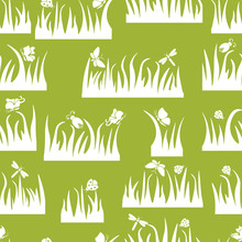 Floral Seamless Pattern, Butterfly, Beetle, Dragonfly In The Grass, Insects