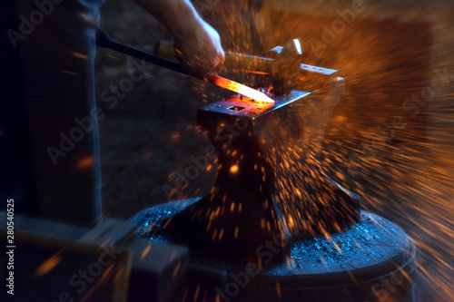 Fotografering blacksmith spark and fire background