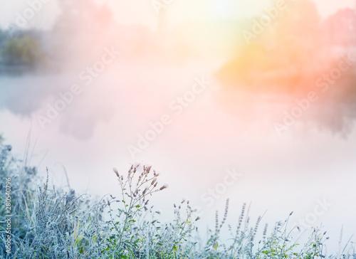 Obraz na płótnie The first frosts in the autumn days
