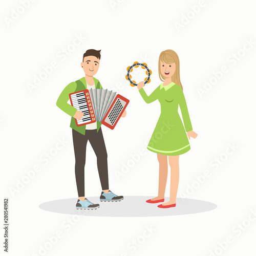 Photo Man and Woman Playing Accordion and Tambourine, People Performing at Concert or