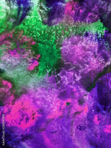 Foto op Plexiglas Aubergine Abstract background, hand-painted texture, watercolor painting, drops of paint, paint smears. Design for backgrounds, wallpapers, covers and packaging.Banner for text, grunge element for decoration.