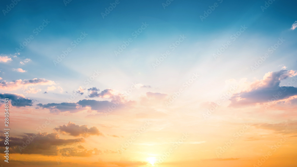 Fototapety, obrazy: World Tourism Day concept:  Beautiful sunset sky above clouds with dramatic light