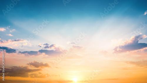 Obraz World Tourism Day concept:  Beautiful sunset sky above clouds with dramatic light - fototapety do salonu