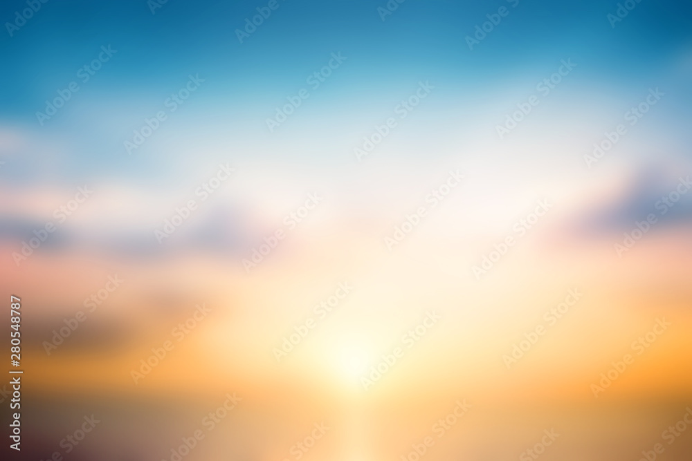 Fototapety, obrazy: International Day for the Preservation of the Ozone Layer concept:  Beautiful sunset sky above clouds with dramatic light