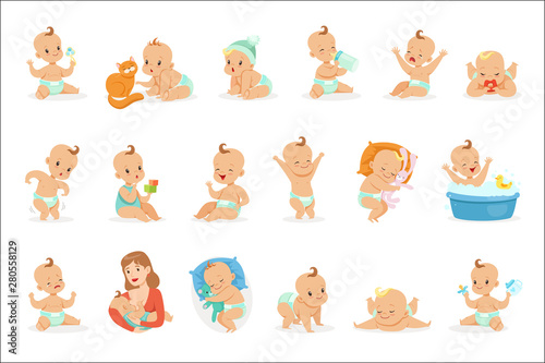 Canvastavla Adorable Happy Baby And His Daily Routine Series Of Cute Cartoon Infancy And Inf