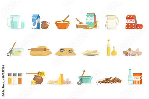 Fotografie, Obraz Baking Ingredients And Kitchen Tools And Utensils Set Of Realistic Cartoon Vecto