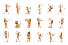 Native American Tribe Members In Traditional Indian Clothing With Weapons And Other Cultural Objects Set Of Cartoon Characters
