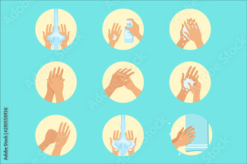 Valokuvatapetti Hands Washing Sequence Instruction, Infographic Hygiene Poster For Proper Hand W
