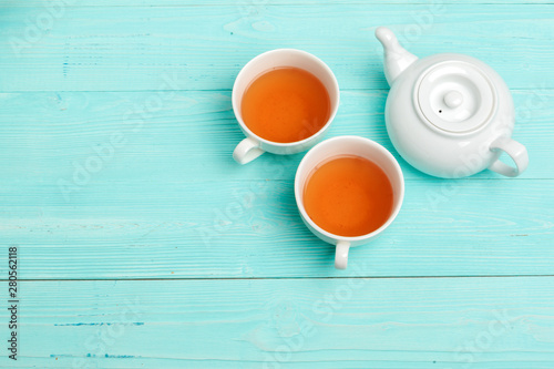 Staande foto Thee Tea ceremony. Tea cups with hot tea close up