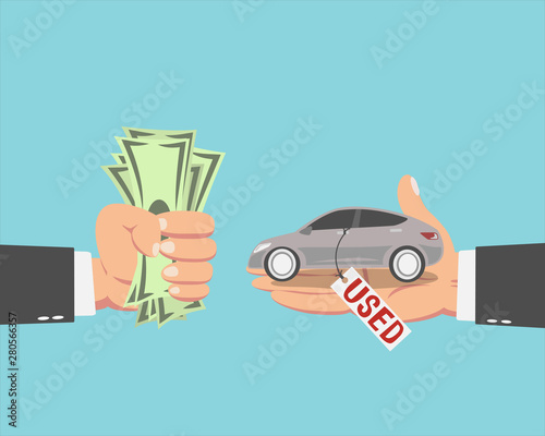 Printed kitchen splashbacks Cartoon cars Businessman buying a Used car