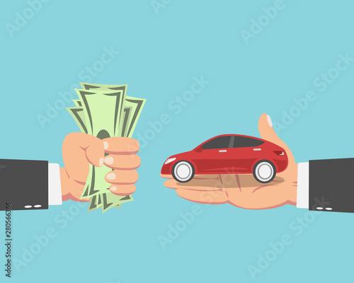 Wall Murals Cartoon cars Businessman buying a new car