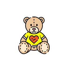 Teddy Line Icon. Cute Brown Be...