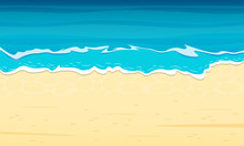 Sea Beach With Sand And Blue Waves. Top View. Ocean Coast Background. Vector Illustration.