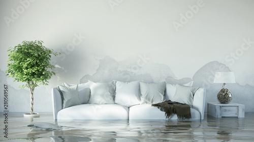Foto auf Leinwand Individuell Wasserschaden im Haus nach Überflutung