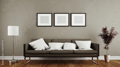 Wand mit drei Bilderrahmen im Wohnzimmer