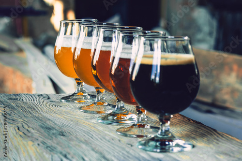 Glasses of different kinds of dark and light beer on wooden table in line Poster Mural XXL